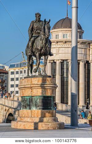 Dame Gruev horseman monument in Skopje
