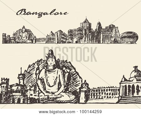 Bangalore engraved illustration hand drawn sketch