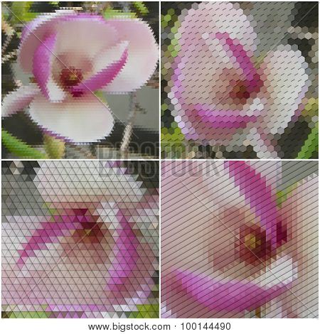 Purple flowers. Collection of abstract multicolored backgrounds. Natural geometrical patterns. Trian