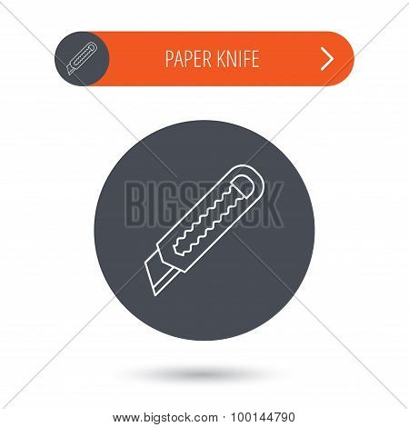 Paper knife icon. Cutter tool sign.
