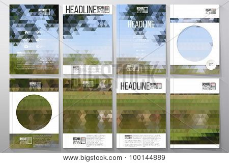 Business templates for brochure, flyer or booklet. Nature landscape. Collection of abstract multicol
