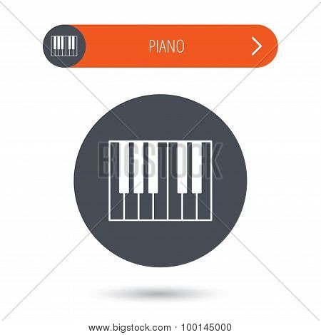 Piano icon. Royal musical instrument sign.