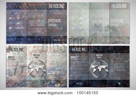 Vector set of tri-fold brochure design template on both sides with world globe element. Graffiti wal