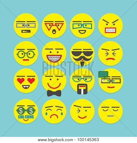 Cute colorful emoticons set - Conceptual and emotional character faces icons for designs