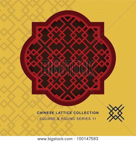 Chinese window tracery lattice square round frame 11 diamond cross
