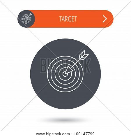 Target with arrow icon. Dart aim sign.