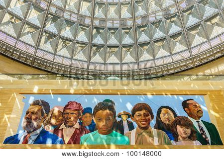 Mural Of Indians And Latinos At Patsouras Plaza At Union Station