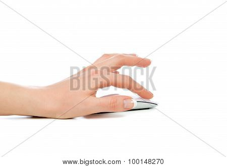 Woman Hand Click On Wireless Modern Computer Mouse