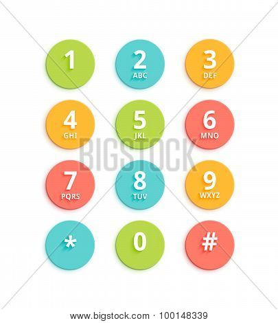 Vector Flat Colored Keypad For Phone
