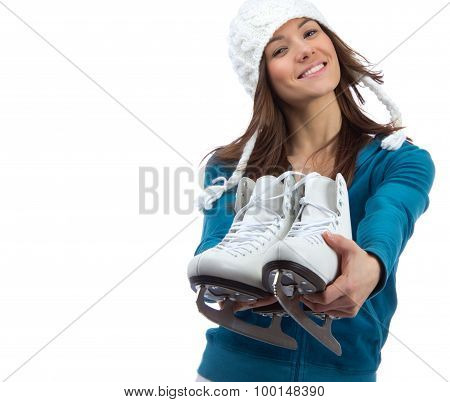 Young Girl Showing Giving Ice Skates For Winter Ice Skating Sport Activity