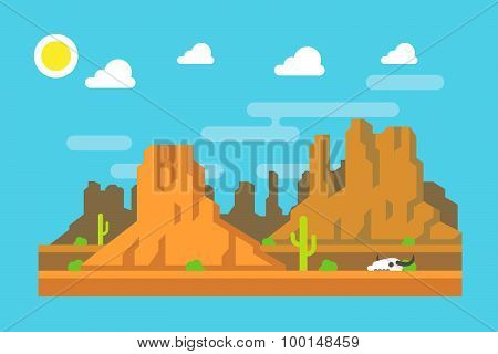 Wild West Arizona Mountain Flat Design