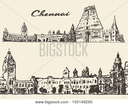 Chennai engraved illustration hand drawn sketch
