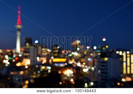 Bokeh Background Of Auckland Financial Center Skyline At Night