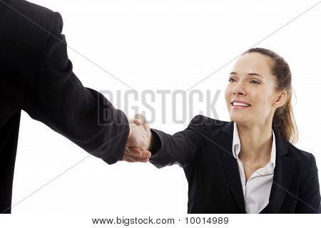 businesswomen smile and handshake  isolated on white background