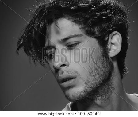 Male model in black and white