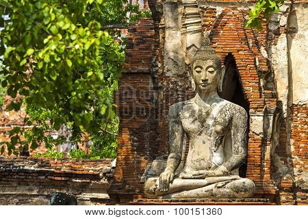 Ancient Buddha In Old Wall