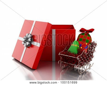 3D White People Inside A Gift Box. Christmas Concept