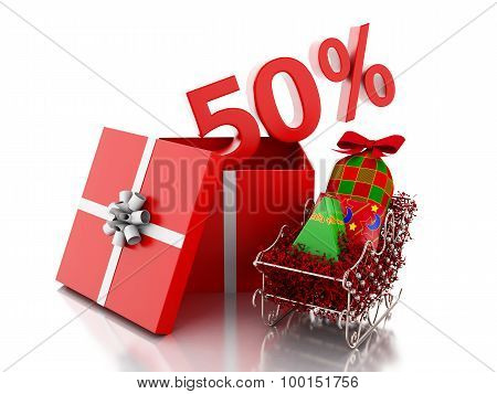 3D Box With 50 Percent Text. Christmas Sale Concept.