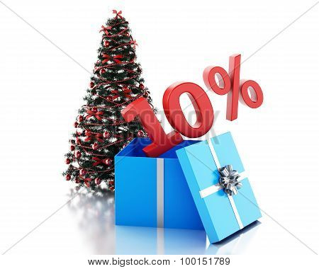 3D Box With 10 Percent Text And Christmas Tree