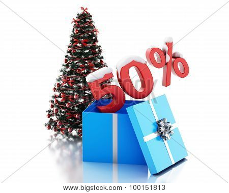 3D Box With 50 Percent Text And Christmas Tree