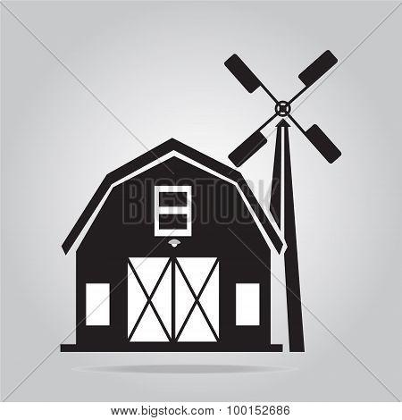 Building Icon, Barn Vector Illustration