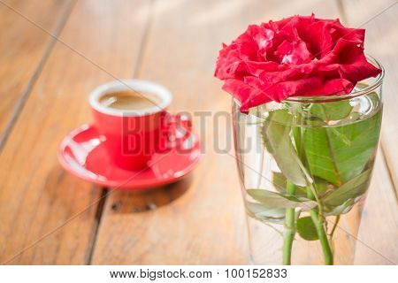 Beautiful Table Decorated With Coffee And Red Rose