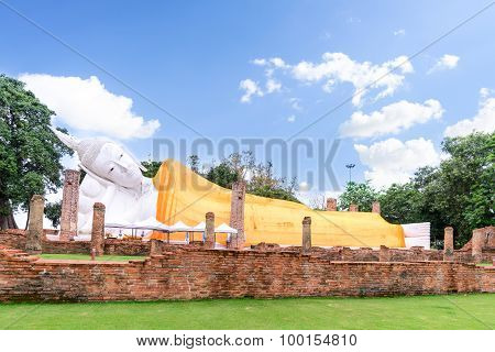 The Second Longest Reclining Buddha, 50 Metres In Length At Wat Khun Inthapramun Public Temple In Th