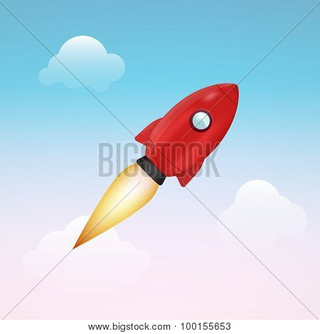 Realistic vector rocket, isolated object