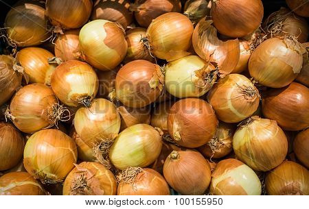 Pile Of Raw Onions On Sales In The Outdoor Grocery Market Of Thailand Used For Food Ingredient Spice