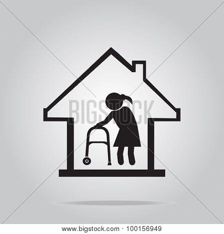 Nursing Home Symbol, Icon Illustration