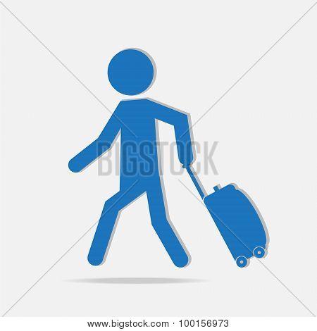 Man Pulling A Luggage Illustration