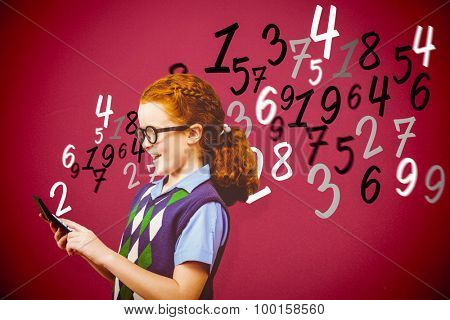 Pupil with calculator against red background