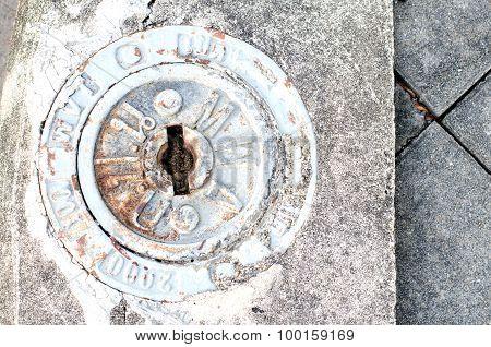 Brass Hydrant  In Concrete Floor