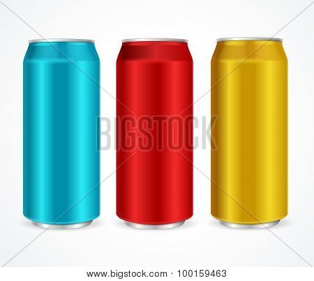 Aluminum Colorful Cans. Vector