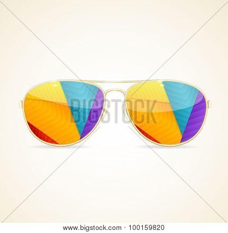 Aviator Sunglasses Gold Concept. Vector