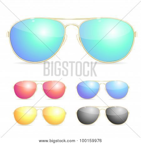 Aviator Colorful Sunglasses Set. Vector
