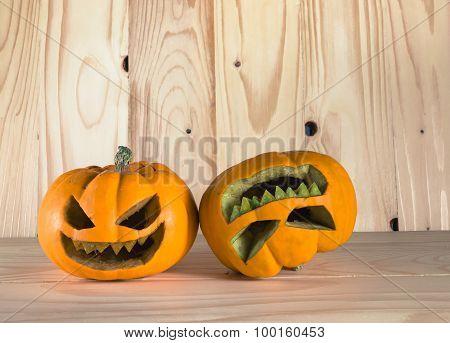 Pumpkins On Wooden Background