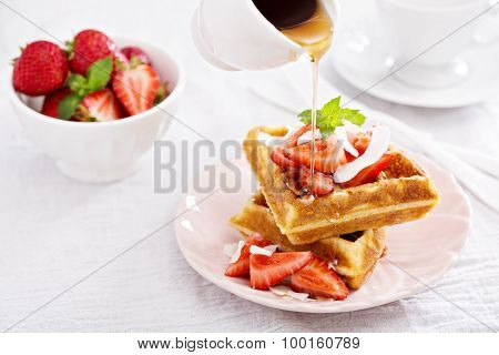 Ricotta waffles with strawberry