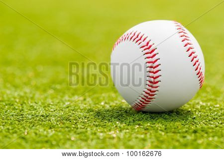 Ball For Playing Baseball Is On The Green Grass Macro Shot