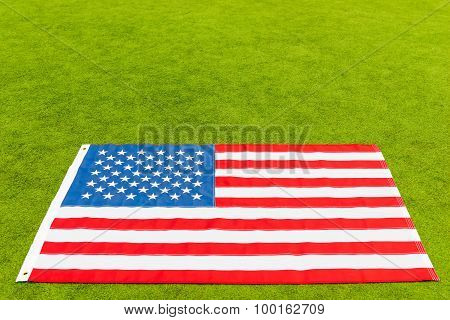 American Flag And Place For The Inscription On The Green Grass