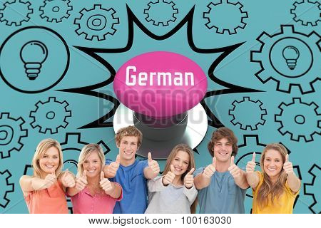 The word german and six friends giving thumbs up as they smile against pink push button