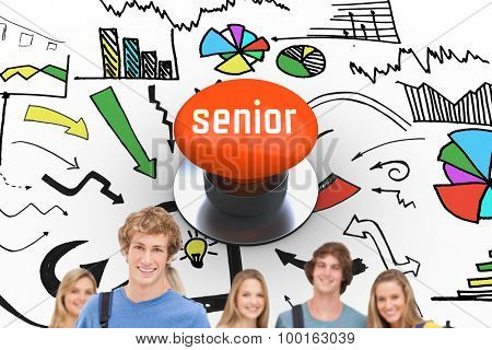 The word senior and a group of smiling college students look into the camera as one man stands in front against orange push button