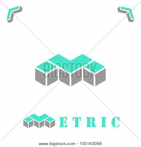M Letter In Isometric Style