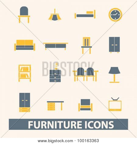 furniture, interior decor icons, signs, illustrations set, vector