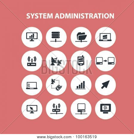 system administration concept icons, signs set, vector