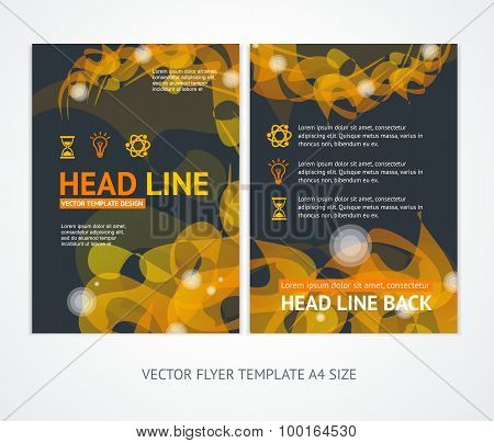 Flyer Design Templates Abstract Geometric Orange Wave. Vector