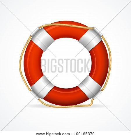 Life Buoy Ring Red. Vector