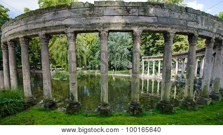 Roman ruins in Monceau Park in Paris, France