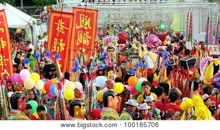 Colorful Temple Carnival In Taiwan