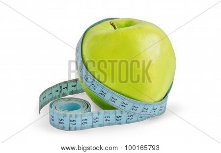Green Apple Is Wrapped In A Measuring Tape.